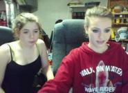 Webcam two roommates flashing